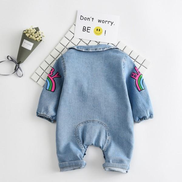 Popular BABY Rainbow Long-Sleeve Denim Jumpsuit for Babies