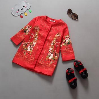 Beautiful Floral Long-sleeve Coat for Girls