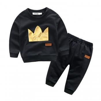 Unique Crown Print Color-blocking Long-sleeve Top and Pants Set for Baby Boy