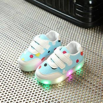 Cool LED Dotted Velcro Shoes for Toddler/Kid
