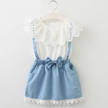 Beautiful Faux-2 Lace Bowknot Dress for Baby and Toddler Girls