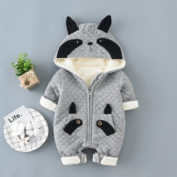 Cute Raccoon Design Hooded Long-sleeve Jumpsuit for Baby