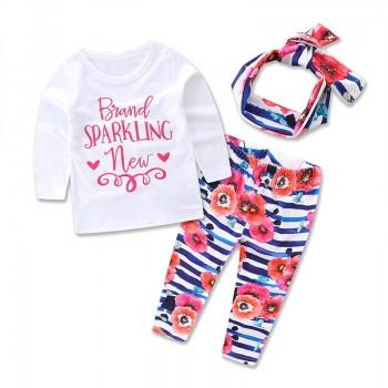 3-piece Letter Printed Long Sleeve Tee, Floral Pants and Headband Set for Baby Girls