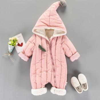 Lovely Channel-quilted Fleece Lining Baby One Piece