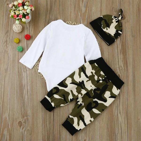 Little Man Bodysuit and Camo Pants Set with Hat