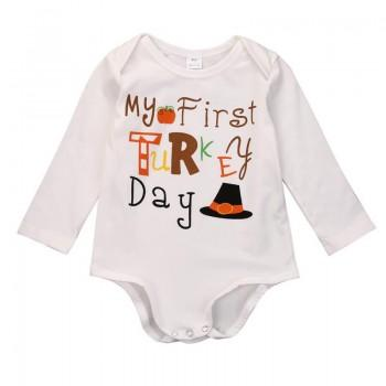 First Turkey Day White Bodysuit for Baby