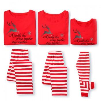 Family Prays Together Red Stripe Family Pajamas Set