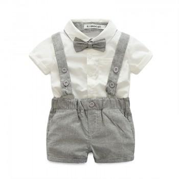 Handsome Shirt, Striped Overall Shorts and Bow Tie for Babies