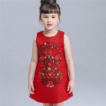 Girl's Flower Embroidered Sleeveless Dress in Dress