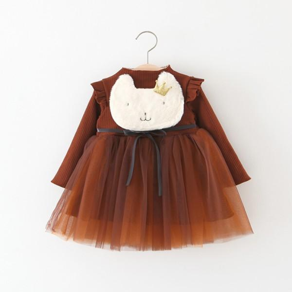 Adorable Cat Appliqued Ruffled Mesh-layered Dress for Baby and Toddler Girls