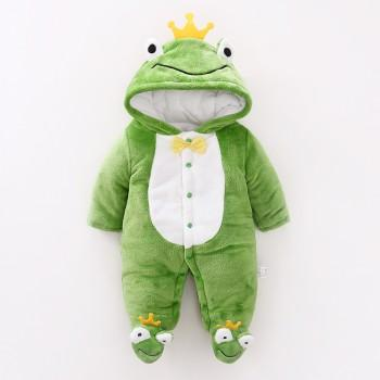 Lovely Frog Hood Footie Quilted One Piece for Baby