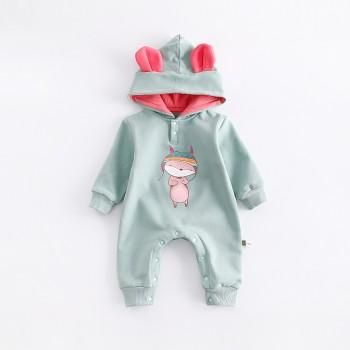 Lovely Animal Print Hooded Long-sleeve One Piece for Baby