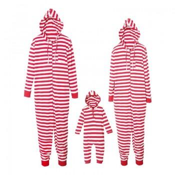 Classic Stripes Matching Family Onesie Hooded Pajamas in Red