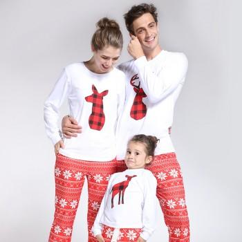 Festival Reindeer Printed Long Sleeve Family Matching Tee in White