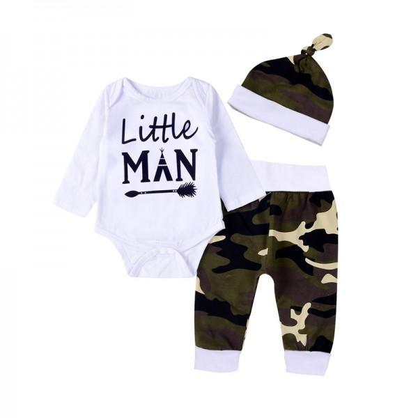 311cb7b10143 3-piece Little Man Print Bodysuit