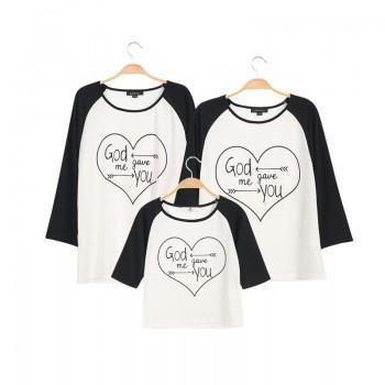 Heart Printed Long Sleeve Family Matching T-shirt
