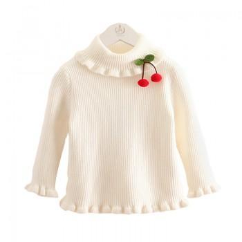Girl's Sweet Solid Turtleneck Ruffles Sweater