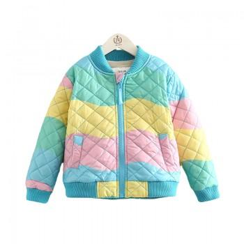Stylish Color-block Fleece-lined Quilted Bomber Jacket