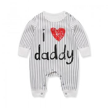 Stylish Stripes I LOVE DADDY Print Long-sleeve Jumpsuit