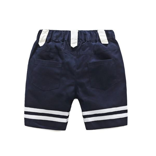 Trendy Embroidered Navy Sailor Short Sleeves Tee and Shorts Set for Boys