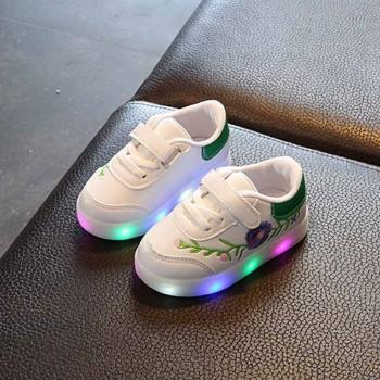 Pretty LED Embroidered Velcro Shoes for Toddle and Kid