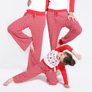 Comfy Striped Lounge Pants in Red for Family