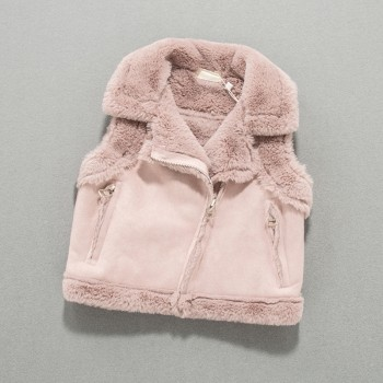 Baby Girl's Solid Fleece-lined Suede Vest