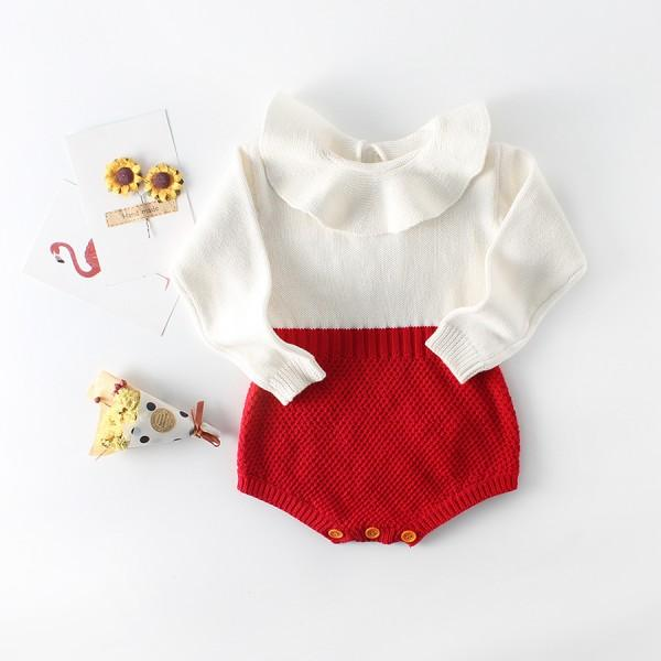 Sweet Ruffled Color Contrast Long Sleeve Crochet Romper for Baby Girls