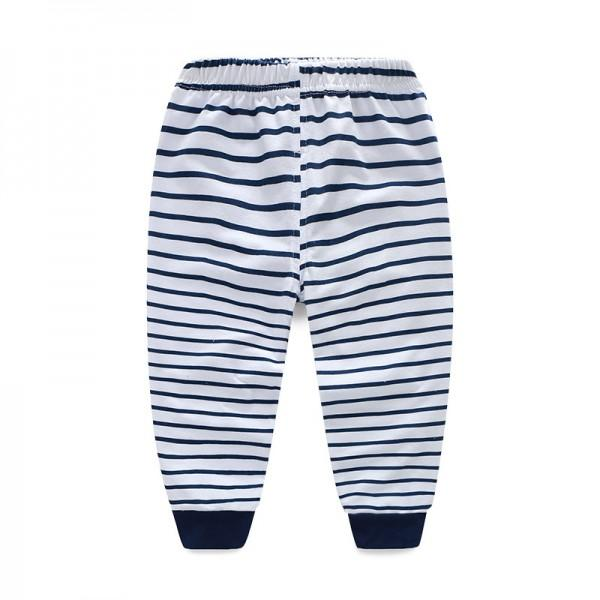 Lovely Elephant Print Long-sleeve Top and Striped Pants Set for Baby Boy