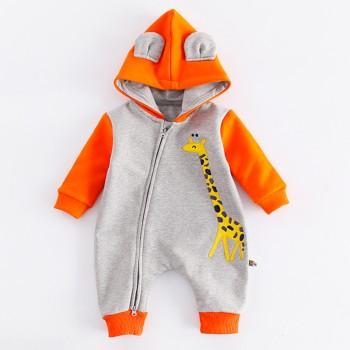 Lovely Giraffe Color-block Hooded Jumpsuit for Baby