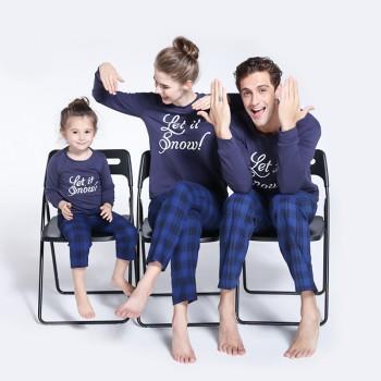 Let it Snow Plaid Pajamas Set in Navy