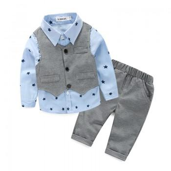 3-piece Handsome Star Print Shirt, Vest and Pants Set for Baby Boy