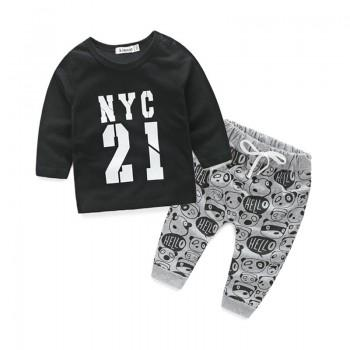 Baby Boy's 2-piece Stylish Letter Long Sleeve Top and Panda Printed Pants Set