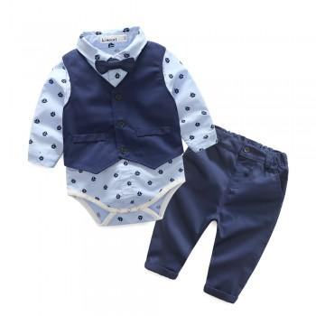 Cool 3-piece Patterned Long-sleeve Bodysuit, Vest and Pants Set for Baby Boy