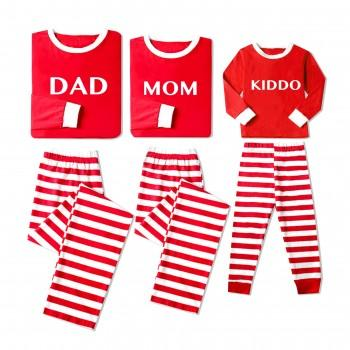 Jolly Christmas Family Striped Comfy Pajamas in Red