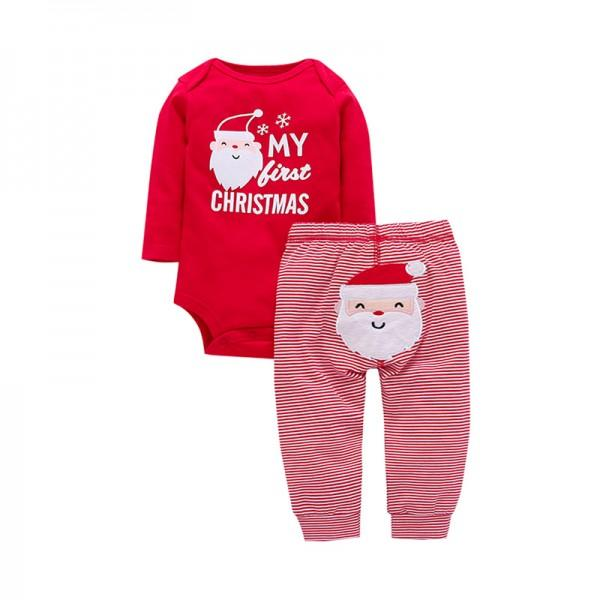 2 piece my first christmas long sleeve bodysuit and stripes pants set in