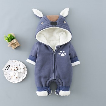 Cuddly Rabbit Design Hooded Long-sleeve Jumpsuit in Blue for Baby