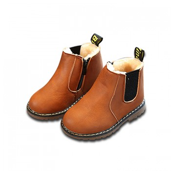 Vintage Solid Fleece-lined Martin Boots  for Kids