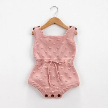 Baby's Solid Knit Pom-pom Decor Sleeveless Romper(Unisex)