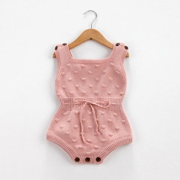 Baby's Solid Knit Pom-pom Decor Sleeveless Romper(Unisex)