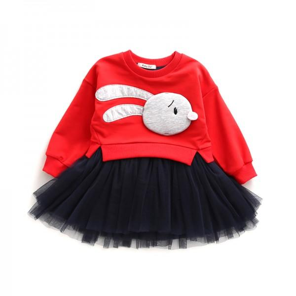 Lovely Bunny Faux-two Pullover Mesh Dress for Girls
