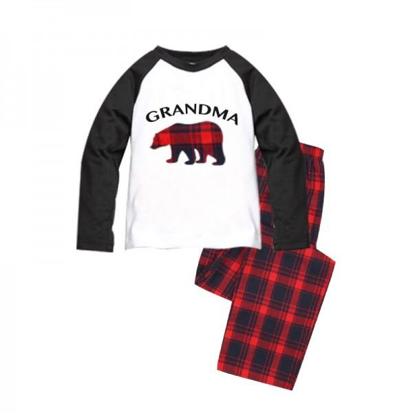 Adorable Grandparents and Grandchild Plaid Holiday Bear Pajamas
