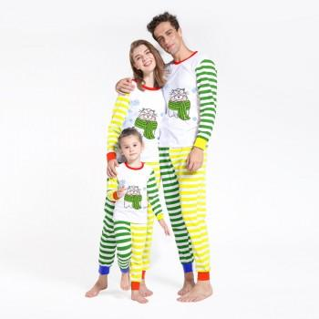 Cute Bear Contrast Bright Striped Family Pajamas