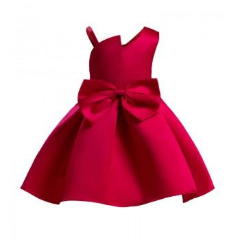 Girl's Elegant Bowknot One-shoulder Party Dress