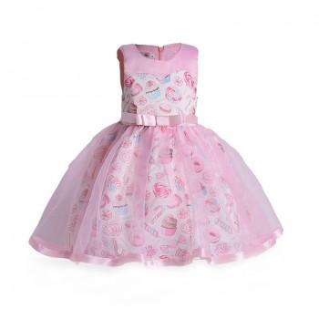 Wonderful Candy Print Belted Tulle Dress for Toddler Girl/Girl