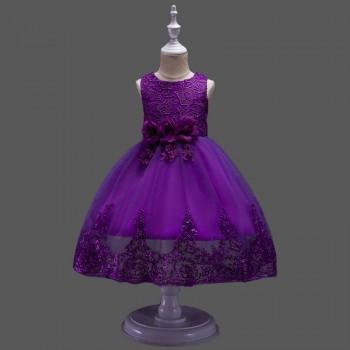 Gorgeous 3D Flower Lace Sleeveless Solid Dress for Girls