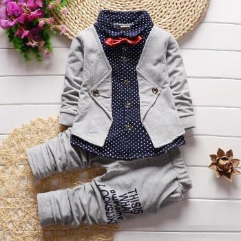 Stylish Dotted Pattern Faux 2 Top and Pants Set for Boys