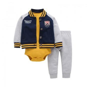 3-piece Stylish Bomber Jacket, Cute Printed Long Sleeve Bodysuit and Pants Set for Baby