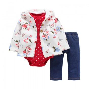 3-piece Floral Hooded Coat, Long Sleeve Bodysuit and Pants Set for Baby Girls