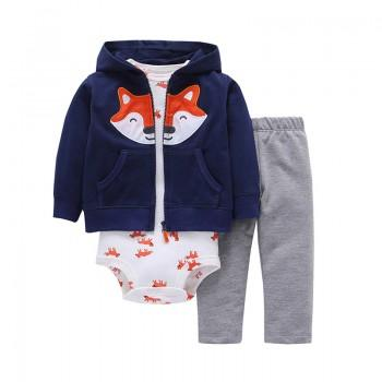 3-piece Lovely Animals Printed Bodysuit, Hooded Coat and Pants Set for Baby Boys